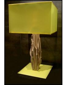 Lampe bois flotté carrée