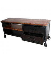 meuble tv industriel 180cm meuble bas en m tal ambiance loft mobilier industriel roulette vintage. Black Bedroom Furniture Sets. Home Design Ideas
