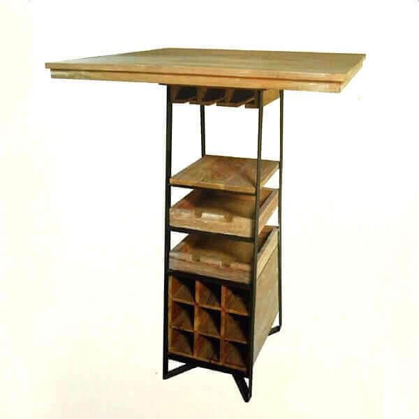 Table haute bois avec rangement - Table haute rangement ...