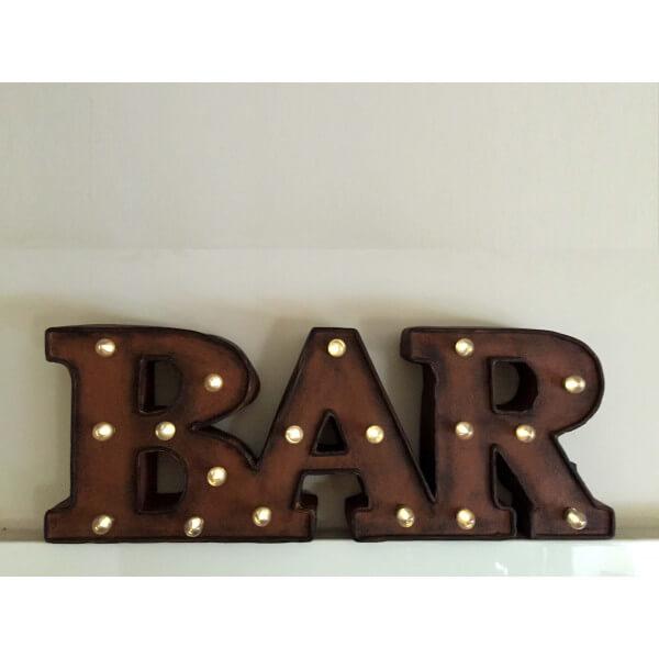 mot bar lumineux lettres lumineuse led pour d coration loft et vintage. Black Bedroom Furniture Sets. Home Design Ideas