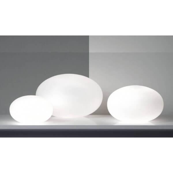 Lampe poser forme galet ovale blanche en verre design - Repeindre un abat jour ...