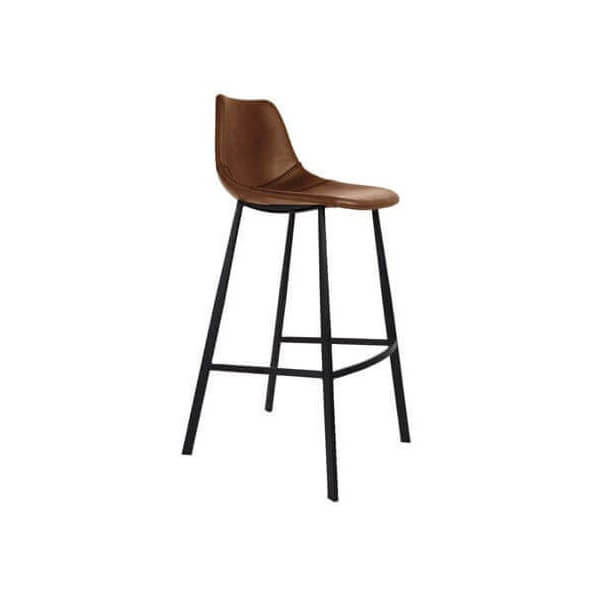 Tabouret de bar assise cuir marron - Chaise de bar style industriel ...