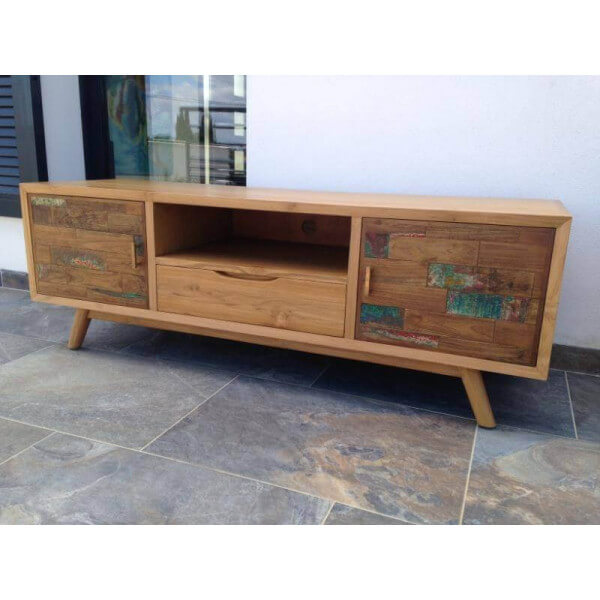 Meuble tv contemporain bois massif for Meuble tv scandinave 110 cm