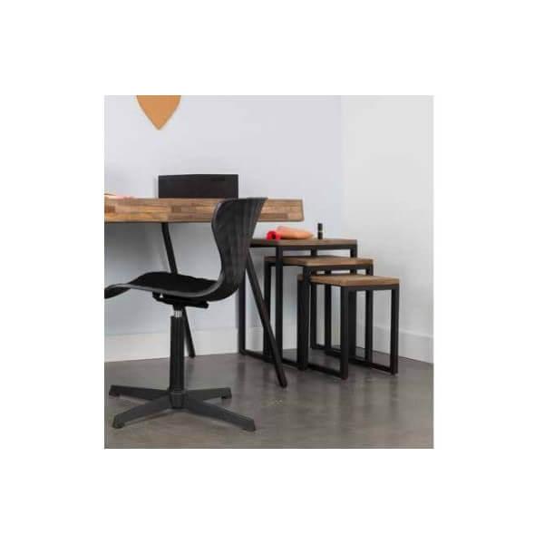 tables gigognes bois acier. Black Bedroom Furniture Sets. Home Design Ideas