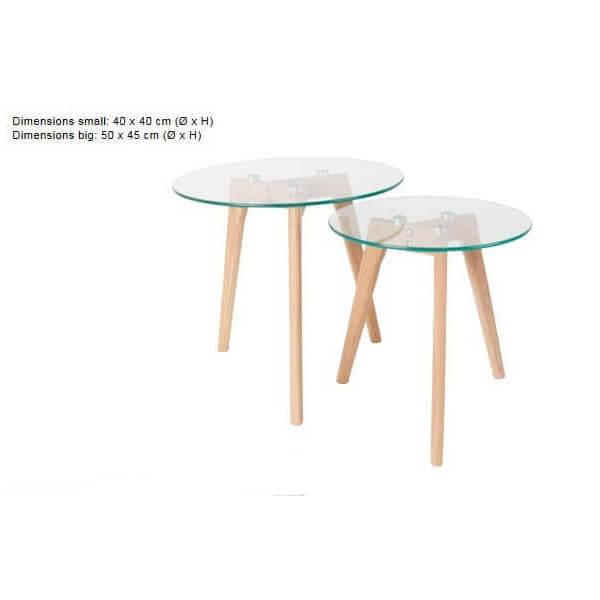 2 tables d 39 appoint en verre for Set de table bois