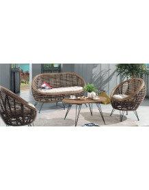 Ball rattan lounge set