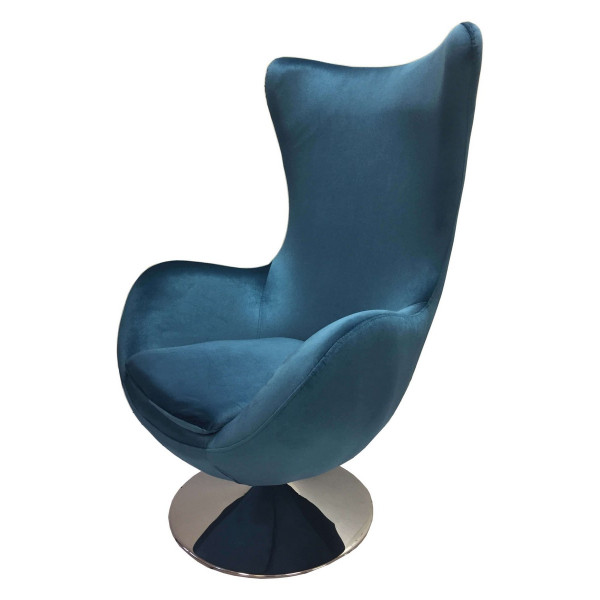 Blue armchair Suede