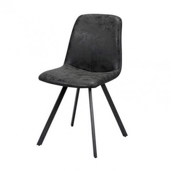 Chaise repas design aspect cuir noir charbon