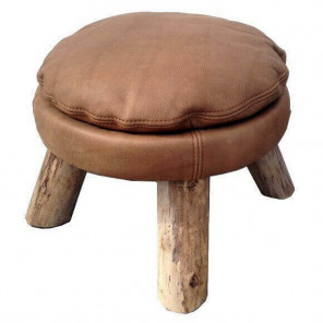 MATTAK - Bleu Nature leather stool