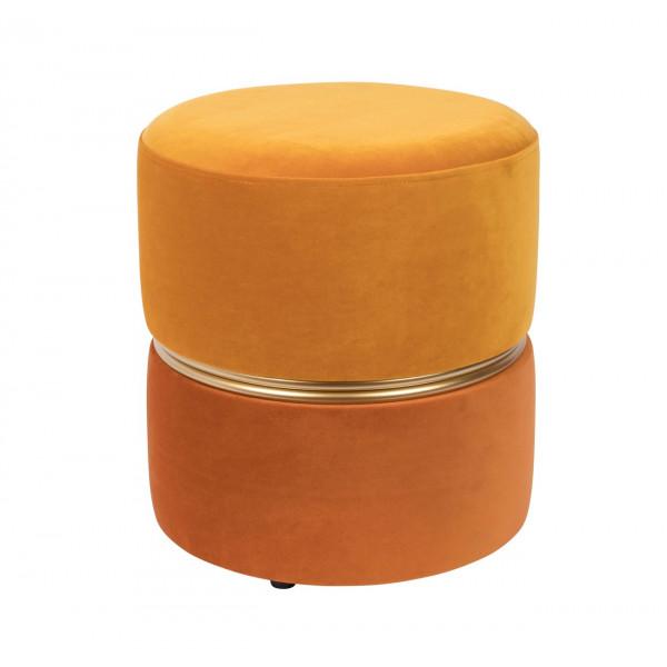 Pouf velours Art Déco jaune/orange