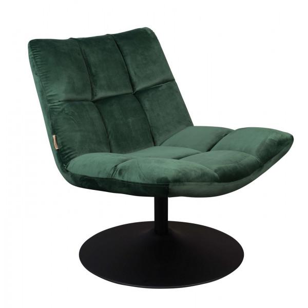 Fauteuil Lounge velours vert