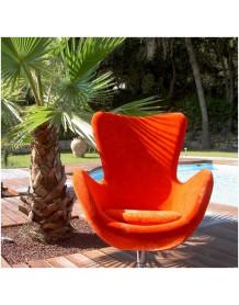 Orange Cocoon chair in velvet