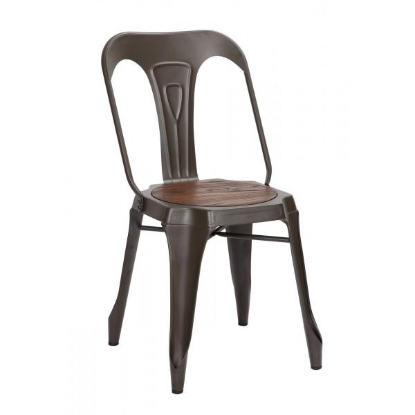 Chaise repas acier loft industrielle