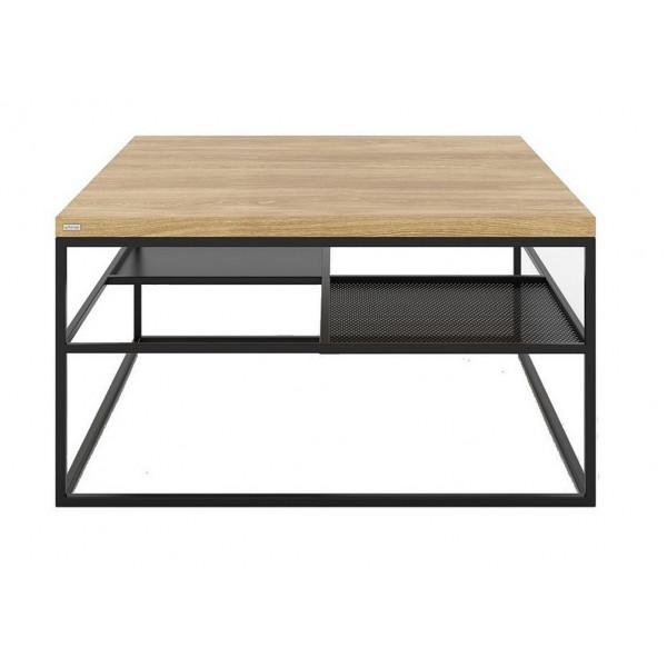 Table basse noire Square acier-chêne
