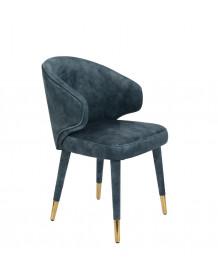 Blue velvet Dining chair Lunar