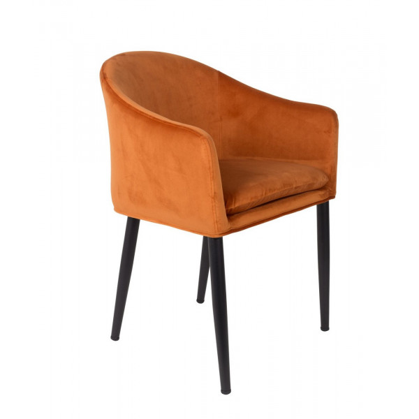 COSY - Orange velvet dining armchair