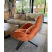 SPACE - Swivel armchair in orange velvet