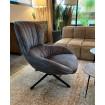 TESSANO - Modern swivel armchair in grey velvet