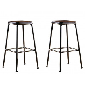 NEVADA - Bar chair in steel and solid wood