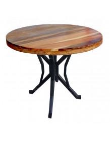 table repas ronde bois naturel