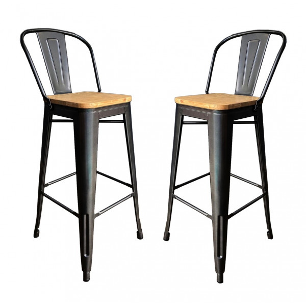 2 Bar chairs in steel and solid wood