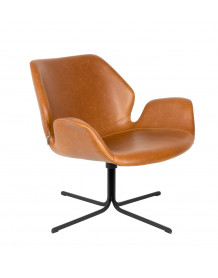 NIKKI - Fauteuil rotatif en aspect cuir vintage marron