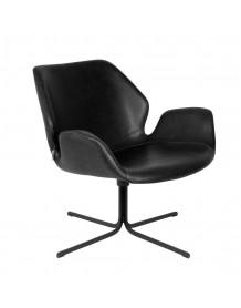 NIKKI - Fauteuil rotatif en aspect cuir noir