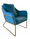 GOLDEN - Fauteuil cosy en velours bleu et métal doré