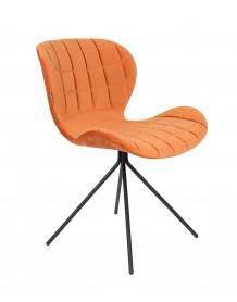 Chaise de repas en velours orange