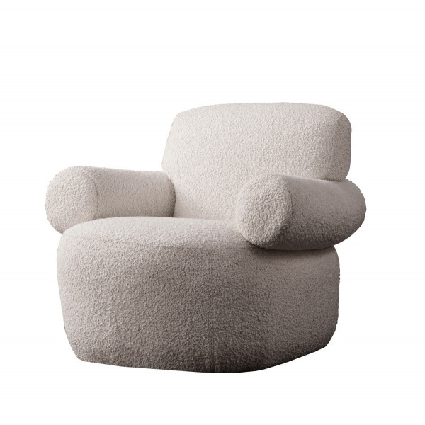 TEDDY - Fauteuil tissu laine Blanc