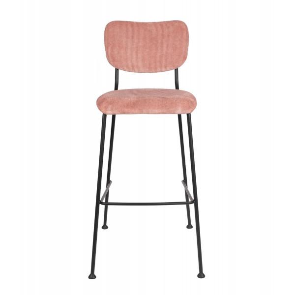 BENSON - Pink Velvet bar chair by Zuiver