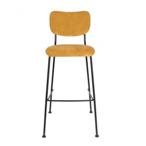BENSON - Yellow Velvet bar chair Zuiver