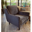 Fauteuil velours gris taupe Soft