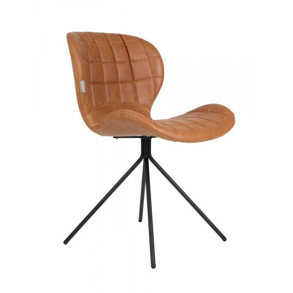 Chaise de repas OMG aspect cuir marron