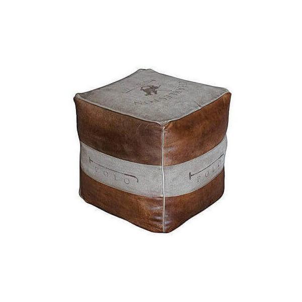 Pouf cuir vintage Polo 1392