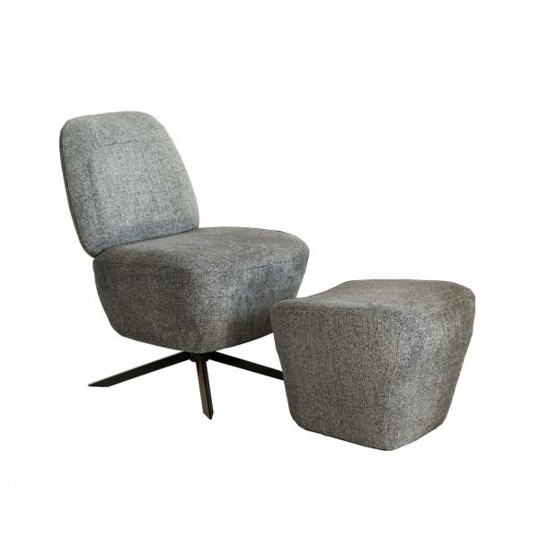 DUSK - Fauteuil Lounge tissu gris clair