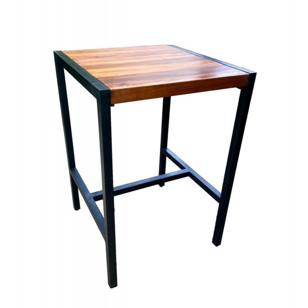 FACTORY - Square heigh table in solid wood and steel.