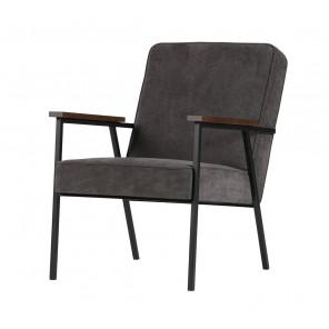 SALLY - Dark grey ribcord arm chair