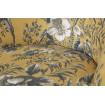 Fauteuil velours jaune motifs pop