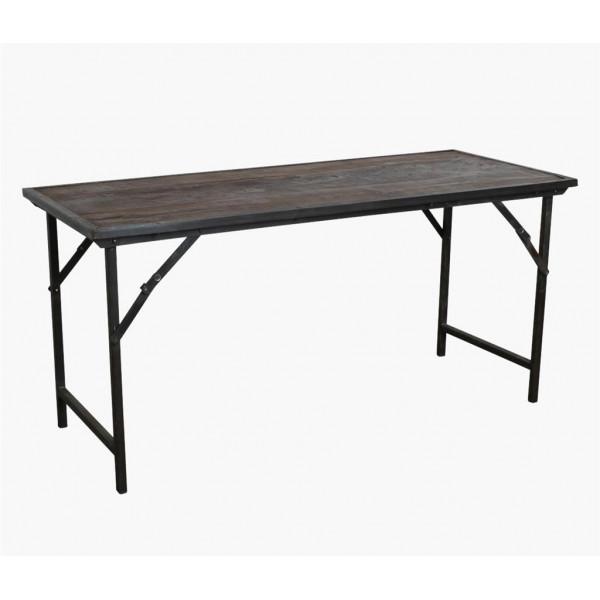 VINTAGE - Table pliante marron bois acier