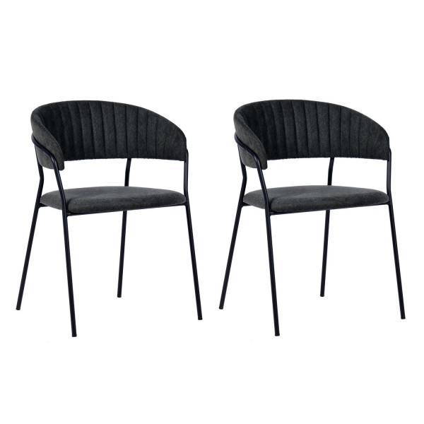BERGAME - Chaise de repas gris foncé