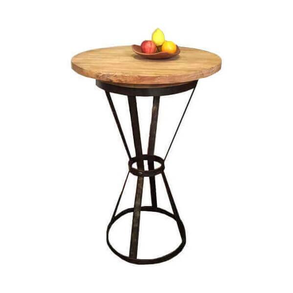 Table haute ronde taverne bois et acier for Table haute bois