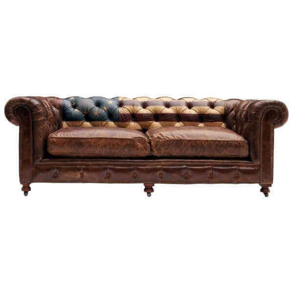Canapé Chesterfield en cuir 180