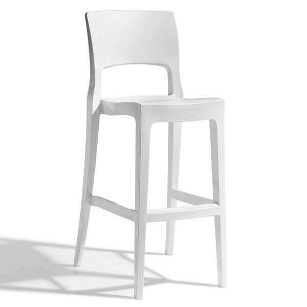 EASY - Comfortable bar chair with a sober white design
