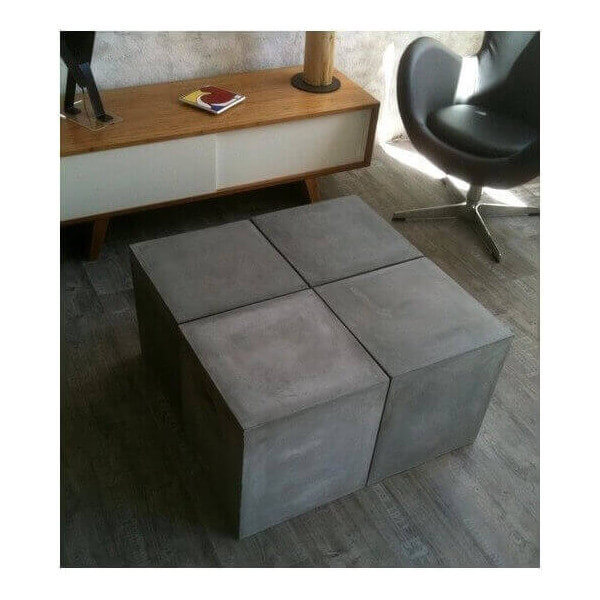 Table salon modulable beton for Table exterieur modulable