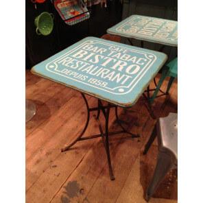 BISTRO - Square blue Table iron