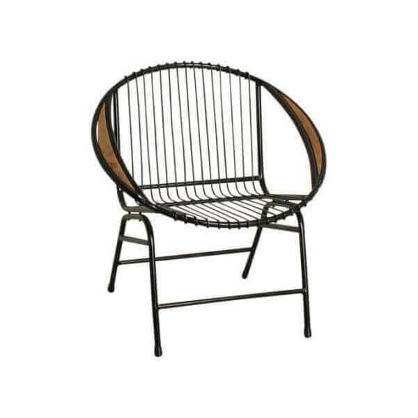 fauteuil lounge acier et bois. Black Bedroom Furniture Sets. Home Design Ideas