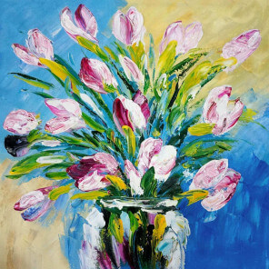 Oil painting Pink Flowers