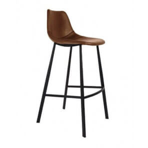 FRANKY - Brown leather look bar chair