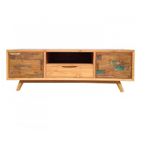 Meuble tv contemporain bois massif for Table de television en bois